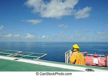 An offshore fireguard - A fireguard is ready on the helideck...