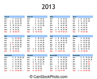 Year 2013 calendar - Single page year 2013 calendar in...