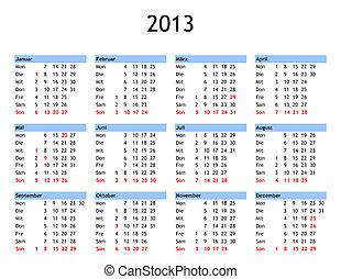 ano, 2013, Calendário