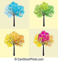 tree vector - colorful tree over beige background vector...
