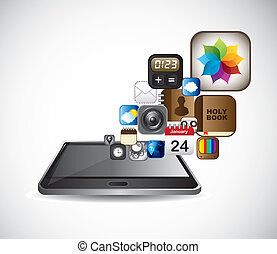 phone vector - phone with icons of apps over gray background...