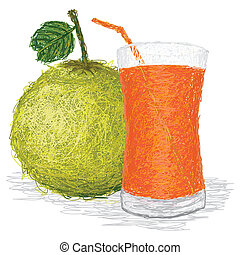 pomelo juice - closeup illustration of fresh pomelo fruit...