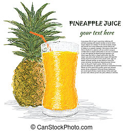 pineapple juice - closeup illustration of fresh pineapple...