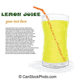 lemon juice - closeup illustration of fresh glass of lemon...