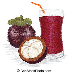 mangosteen fruit juice - closeup illustration of a fresh...