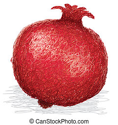 pomegranate - closeup illustration of ripe pomegranate fruit...