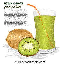 kiwi juice - closeup illustration of fresh kiwi fruit and...