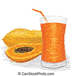 papaya juice - closeup illustration of fresh papaya fruit...
