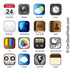 set of app vector icons over white background illustration