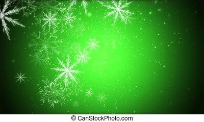 Snowflakes - Large snowflakes are moving across a green...