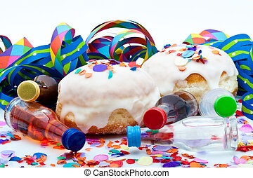 donuts for a party isolated on white background with air streamers and confetti