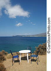 Thassos - View from coast of Greece island Thassos with...