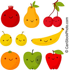 Set of cute smiling fruits