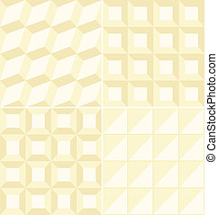 Set of 4 geometric beige patterns in separated swatches