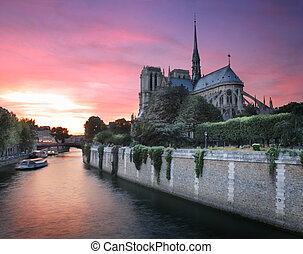 River Seine - River Seine and cathedral Notre Dame de Paris...