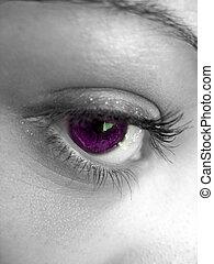 Pretty Purple Eye - A macro shot of a pretty womans eye with...