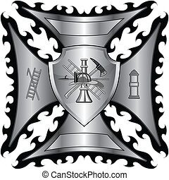 Firefighter Cross Silver Shield - Illustration of a fire...