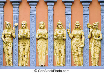 Hindu Temple Goddess and Priestess Wall Carvings - Hindu...