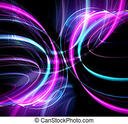 Glowing Disco Lights - An abstract fractal design over a...