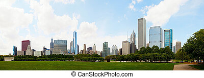 Downtown Chicago, IL on the sunny day - Cityscape of...