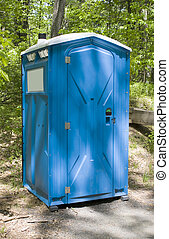 Porta Potty - A blue porta potty located on the hiking trail
