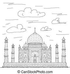 taj mahal - hand drawn illustration of famous tourist...