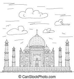 taj mahal - hand drawn illustration of famous tourist...