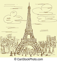 vintage eifel tower - vintage hand drawn illustration of...