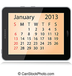 january 2013 calendar - illustration of january 2013...