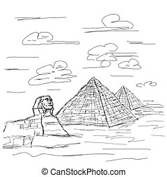 egypt pyramid - hand drawn illustration of famous tourist...