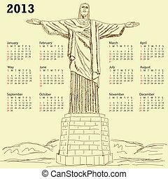 cristo redentor 2013 calendar vinta