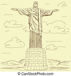 cristo redentor vintage - vintage illustration of famous...