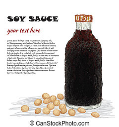 soy sauce - closeup illustration of a bottle of soy sauce...