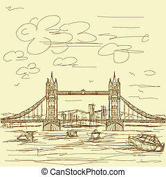tower bridge vintage - vintage hand drawn illustration of...