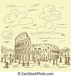 rome colosseum vintage - vintage hand drawn illustration of...