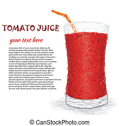 tomato juice - closeup illustration of a glass of fresh...