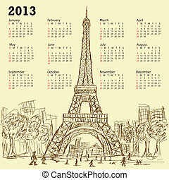 eifel tower calendar 2013 - vintage hand drawn illustration...