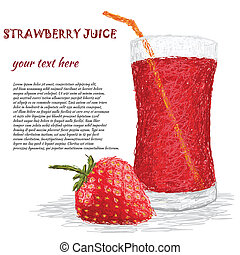 strawberry juice - closeup illustration of fresh strawberry...