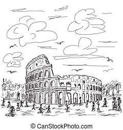 rome colosseum - hand drawn illustration of famous ancient...