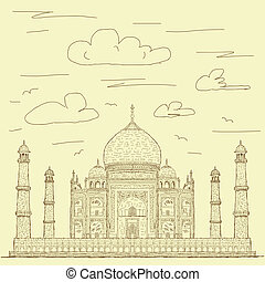 taj mahal vintage - vintage hand drawn illustration of...