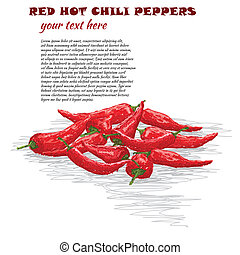red hot chili pepper - closeup illustration of group of red...