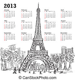 calendar eifel tower 2013 - hand drawn illustration of eifel...