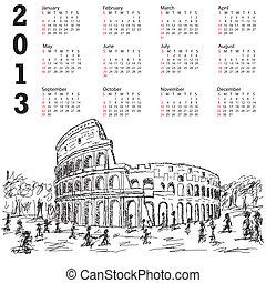 rome colosseum 2013 calendar - 2013 ncalendar with hand...