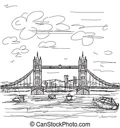 tower bridge - hand drawn illustration of famous tourist...