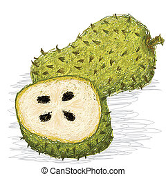 soursop fruit - closeup illustration of fresh whole and half...