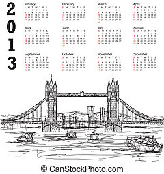tower bridge 2013 calendar - 2013 calendar with hand drawn...
