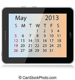 may 2013 calendar - illustration of may 2013 calendar framed...