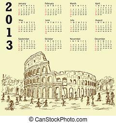 rome colosseum vintage 2013 calenda - 2013 calendar with...
