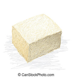 tofu - closeup illustration of fresh tofu cube isolated in...