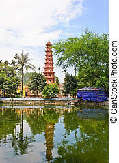 View of Tran Quoc pagoda from the lake, Vietnam